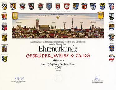 Ehrenurkunde Gebrüder Weiß & Cie. KG